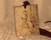 French Market Vintage Style Marie Antoinette Glittered Gift Tag Paris Apartment  ECS