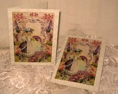 Vintage French Design Handmade Cards Adorned with Glitter French Romance Versailles on Parchment ECS