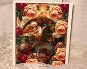 Mother and Child Religious Christmas Card Original Design Handmade on Parchment
