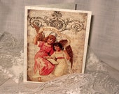 Merry Christmas Angels Religious Christmas Card Original Design Handmade on Parchment