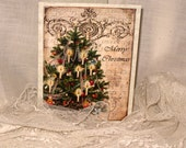Merry Christmas Tree Christmas Card Original Design Handmade on Parchment