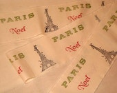French Vintage Handmade Muslin Ribbon Paris Eiffel Tower Noel  Hand stamped  ECS