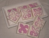 Fleur De Lis All Natural Detergent free Shea Butter Guest Soap Peach Necter Vegan Friendly