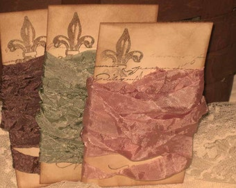 French Vintage Crinkled Seam Binding Mint Fraise Chocolat