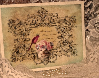 Vintage French Design Handmade Cards Adormed with Bling on Parchment