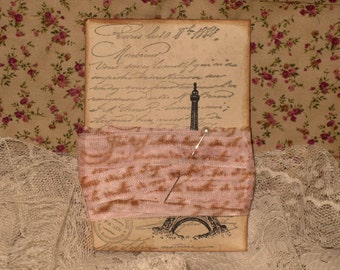 French Vintage Hand Stamped French Script Seam Binding Vintage French Pink ECS