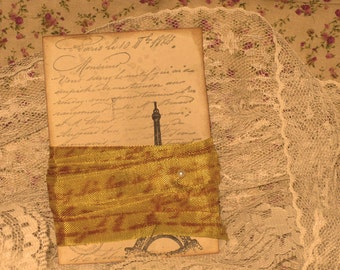 French Vintage Hand Stamped French Script Seam Binding Yellow Citrone ECS
