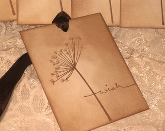Vintage Inspired Hand Stamped Wedding Wish Tree Gift Tags ECS