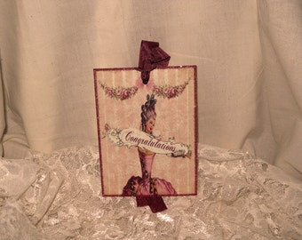 French Market Vintage Style Marie Antoinette Glittered Gift Tag Congratulations Sentiment ECS