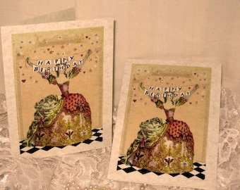 Vintage French Design Handmade Cards Adorned with Glitter Happy Birthday Sentiment French Romance on Parchment ECS
