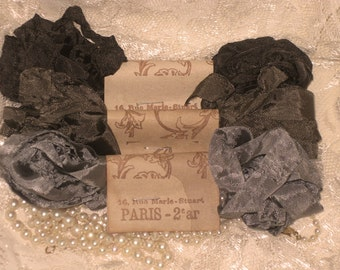 French Inspired Seam Binding Ribbon Distressed and Scrunched  - Elegant Gris Gray- French Marche (SB007)
