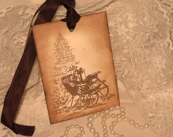 Santa's Sleigh Hand Stamped and Distressed Gift Tags ECS