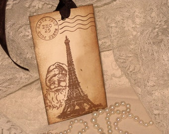 Peeka Boo Santa from Eiffel Tower Hand Stamped and Distressed Gift Tags ECS