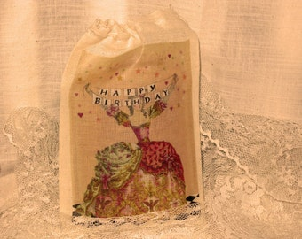 French Market Marie Antoinette Happy Birthday Muslin Party Favor Gift Pouches ECS