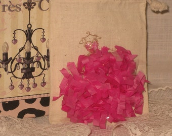 Muslin Wedding Shower Party Favor French Feston Gift Pouches Adorned Glitz, Seam Binding and Frou Frou ECS