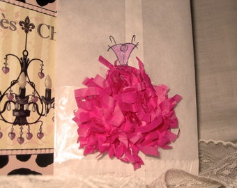 Glassine Wedding Shower Party Favor French Feston Gift Pouches Adorned Glitz, Seam Binding and Frou Frou ECS