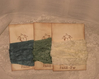 French Vintage Crinkled Seam Binding (Elegant Dress Collection 001) Ocean Sky