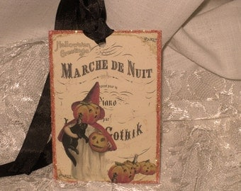 French Market Vintage Gothic Style Halloween Glittered Gift Tags with Seam binding ECS