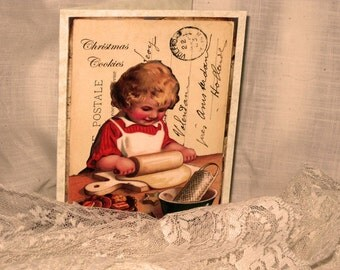 Merry Christmas Baking Cookies Christmas Card Original Design Handmade on Parchment