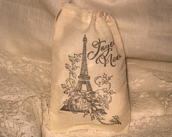 Christmas Collection Muslin Favor Bag Vintage Joyeux Noel Eiffel Tower ECS