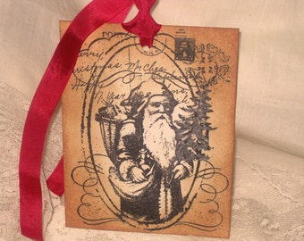 Vintage Inspired Christmas Santa Father Time Post Card Greetings Gift Tag Adorned with Glitter ECS