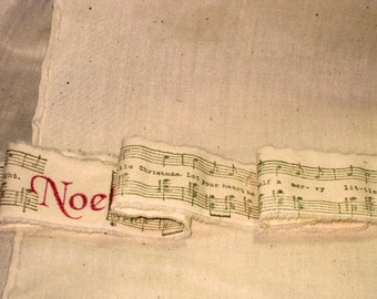 French Vintage Handmade Muslin Ribbon with Noel and Christmas Music Notes ECS
