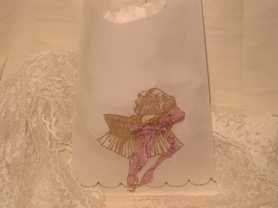 Vintage Baby Carriage Glassine Favor Bags Girl Twins Baby Shower ECS