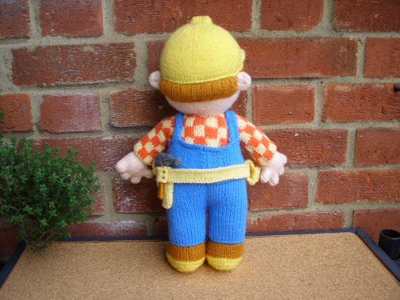 Hand Knitted Toy Bob the Builder from Alan Dart pattern