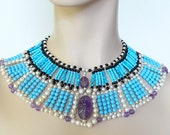 Elegant turquoise and amethyst beads necklace in egyptian style Duchess of Windsor