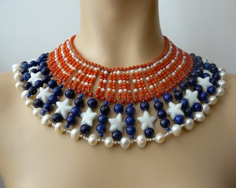 Stars and stripes beads statement egyptian necklace, Marilyn