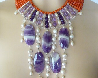 Beads Necklace in coral and amethyst cascade, Ophelia