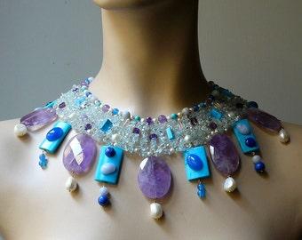 Turquoise and Amethyst beads egyptian choker. Byzantine princess