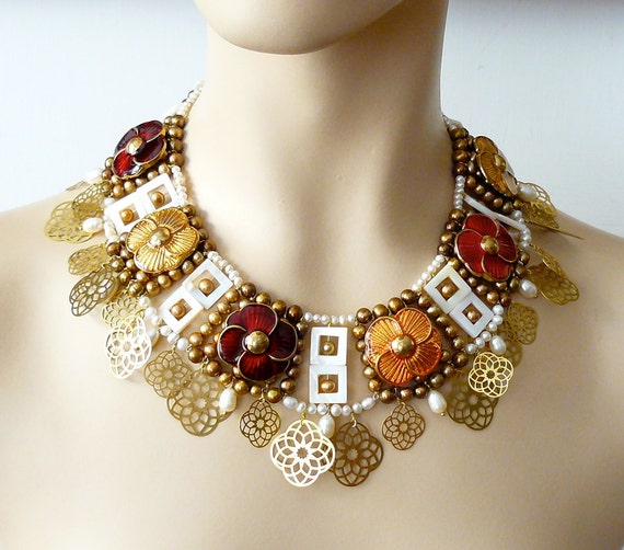 Reserved Vintage buttons necklace in byzantine style, Theodora