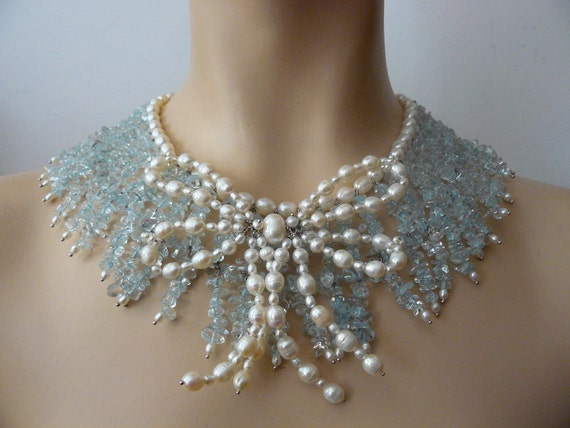 Reserved Bow of pearls choker, beads of blue topaze, Marie Antoinette