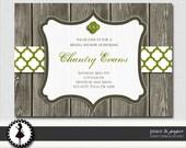Rustic Bridal Shower Invitation - Printable Bridal Shower Invitation - Custom Design - Pick Your Colors