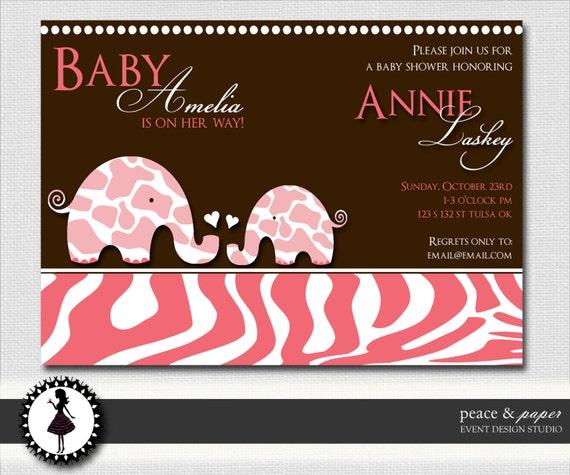 zebra print safari baby shower invitation pink brown printable