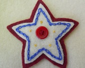 Star Pin or Brooch in Red White and Blue/Lapel Pin/Hat Pin for Teens or Women