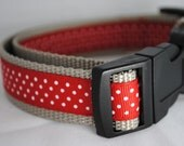 "Grey Red and White Polka Dot 1"" Adjustable Dog Collar"
