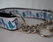 "Blue Birds 1"" Chain Martingale Dog Collar"