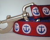 """Anchors, Nautical Theme, Red, White and Blue - 1"""" Wide Leash"""