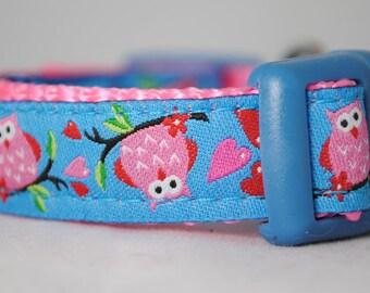"Cute Owls - Adjustable 5/8"" Dog Collar"