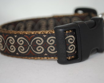 "Scroll Knot - Black, Brown, and Tan - 3/4"" Adjustable Dog Collar"