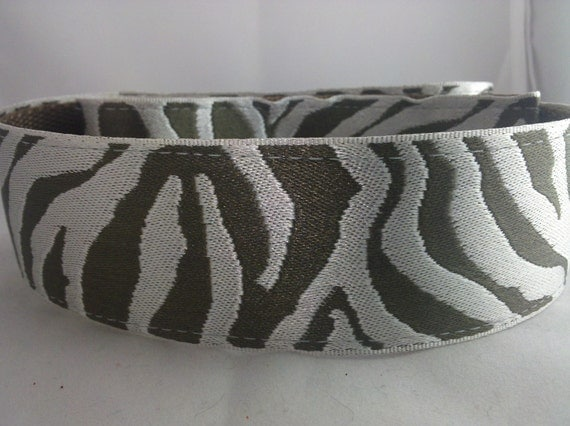 "Chocolate and Silver Zebra - Adjustable 1 1/2"" Wide Dog Collar"