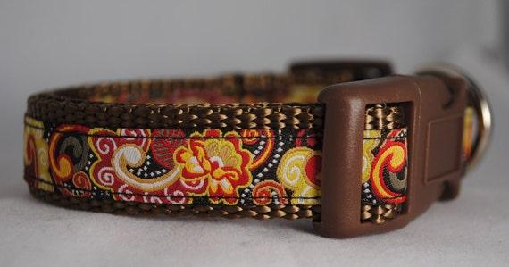 """Mod Paisley Print 3/4"""" Adjustable Dog Collar"""
