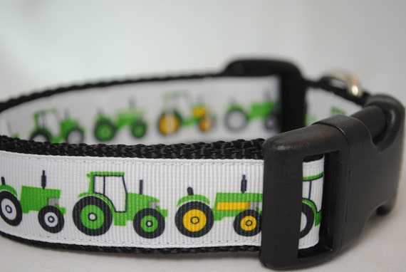 "Last One  Tractors 1"" Wide Adjustable Dog Collar - Also available as a martingale"