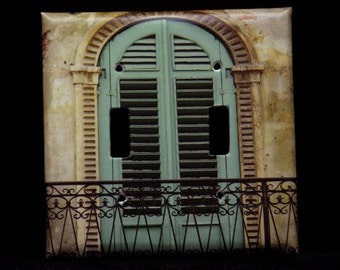 Double Switchplate Cover - Green Shutters