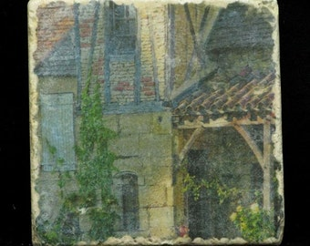 Set of 4 Marble Coasters - Last Light in Sarlat (France)