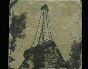 Set of 4 Marble Coasters - Eiffel Tower at Dusk in Paris France