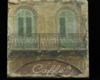 Set of 4 Marble Coasters - European Cafe Scenes