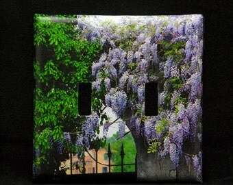 Double Switchplate Cover - Wisteria and Gate in Verona